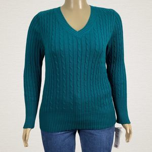 Liz & Co Green V Neck Sweater Cable Knit 2X Plus